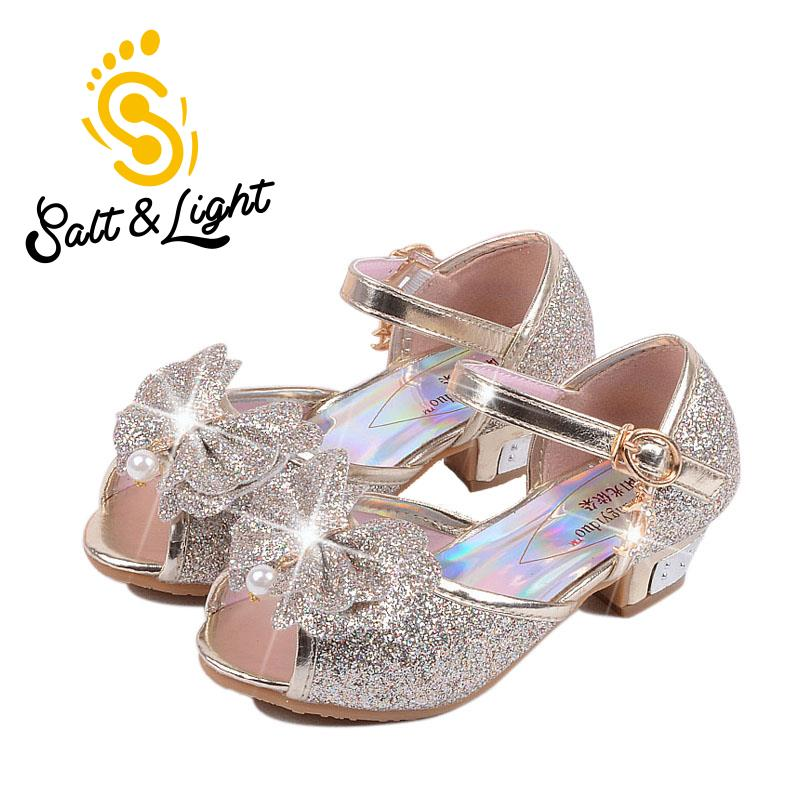 2018 Children new fashion high heels sandals princess style party prom shoes for girls h ...