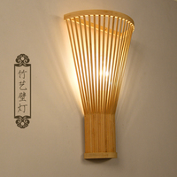 Chinese Bamboo Wall Lamp Individual Pastoral Japanese Wall Lamp Agricultural Teahouse Hotel Stairway Corridor Lantern