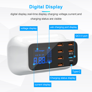 Image 4 - Rocketek Quick Charge 3.0 Smart USB Type C USB Charger Station Led Display Fast Charging Phone Tablet For iPhone Samsung Adapter