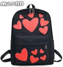 Miwind-F любви в форме сердца наклейки милый Лолита рюкзак, Новые модные женские геометрический хит цвет сумки на ремне, Famale Холст Mochila