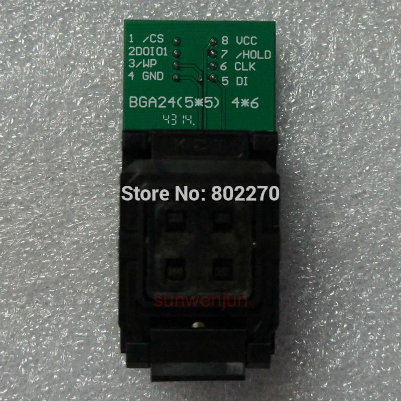 BGA24/TFBGA24 TO DIP8 IC Socket/Adapter/Adaptor for 8X6 mm body width BGA SPI Flash chips,such as W25Q16/Q32/Q64/Q128/Q256