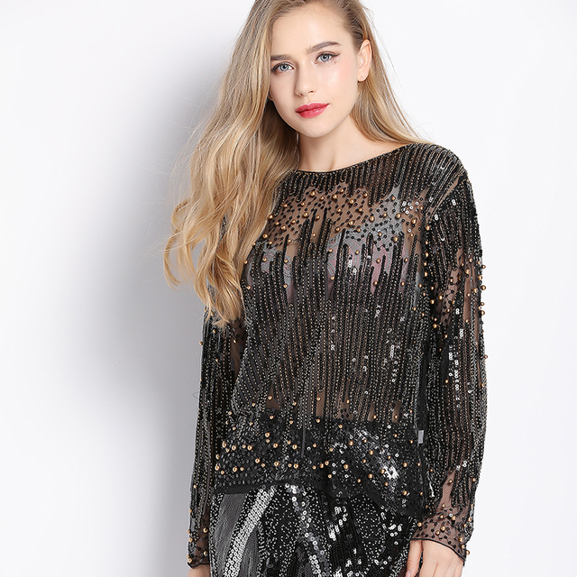 58282c6d205 2018 Runway Sexy Sequined Bead Sheer Mesh Lace Long Sleeve Shirt Vintage  Diamonds Embroidery Embellished Blouse Top Women Tunic