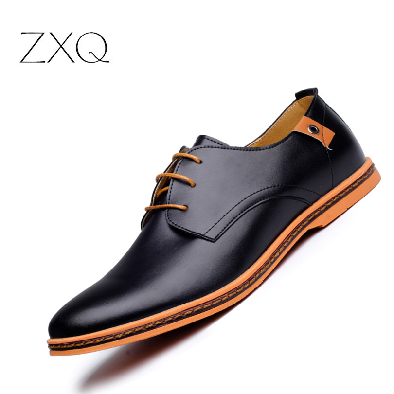 2018 Leather Casual Men Shoes Fashion Flats Round Toe Comfortable Office Dress Plus Size 38 48