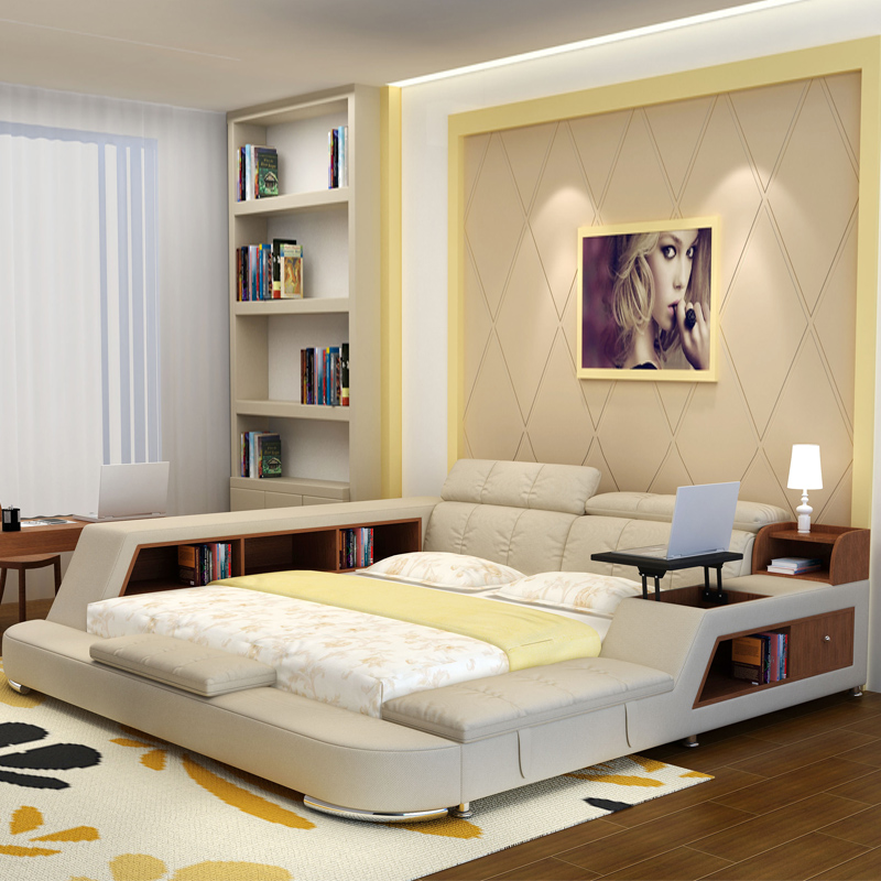 bedroom furniture sets modern fabric king size double bed frame with  storage bookcase cabinets bed tail stool no mattress