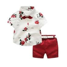 a37c31b7b boys clothing sets summer gentleman suits short sleeve shirt + shorts + belt  3pcs kids clothes children set for 2-7 years