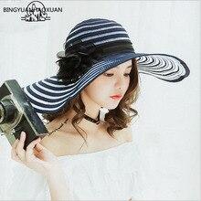 BINGYUANHAOXUAN Hepburn elegant mesh yarn along the hat female summer Korean stripes Sun sunshade beach holiday