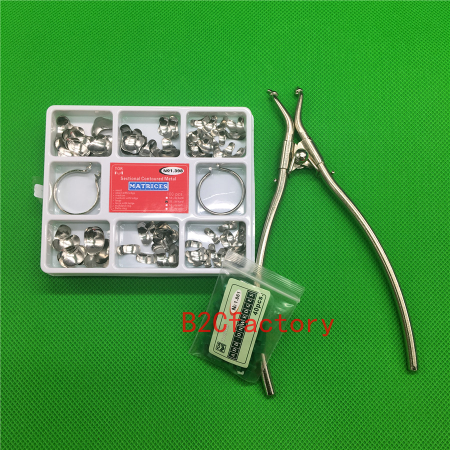 100Pcs Full Kit Dental Matrix Sectional Contoured Metal Matrices No.1.398 + 2 Rings +40pcs Silicone Add- On Wedges