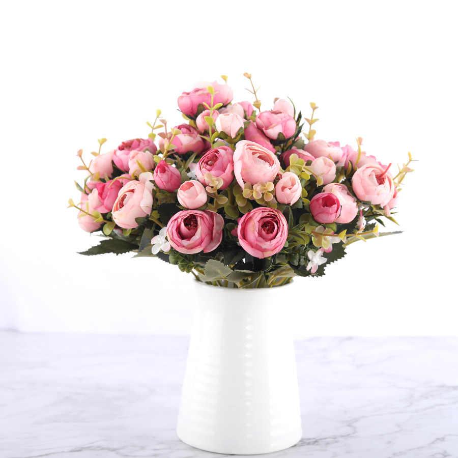 Silk DIY Daisy Camellia Bunga Buatan Kecil Mawar Bride Bouquet Pesta Natal Dekorasi Faux Palsu Bunga Pernikahan Dekorasi Rumah