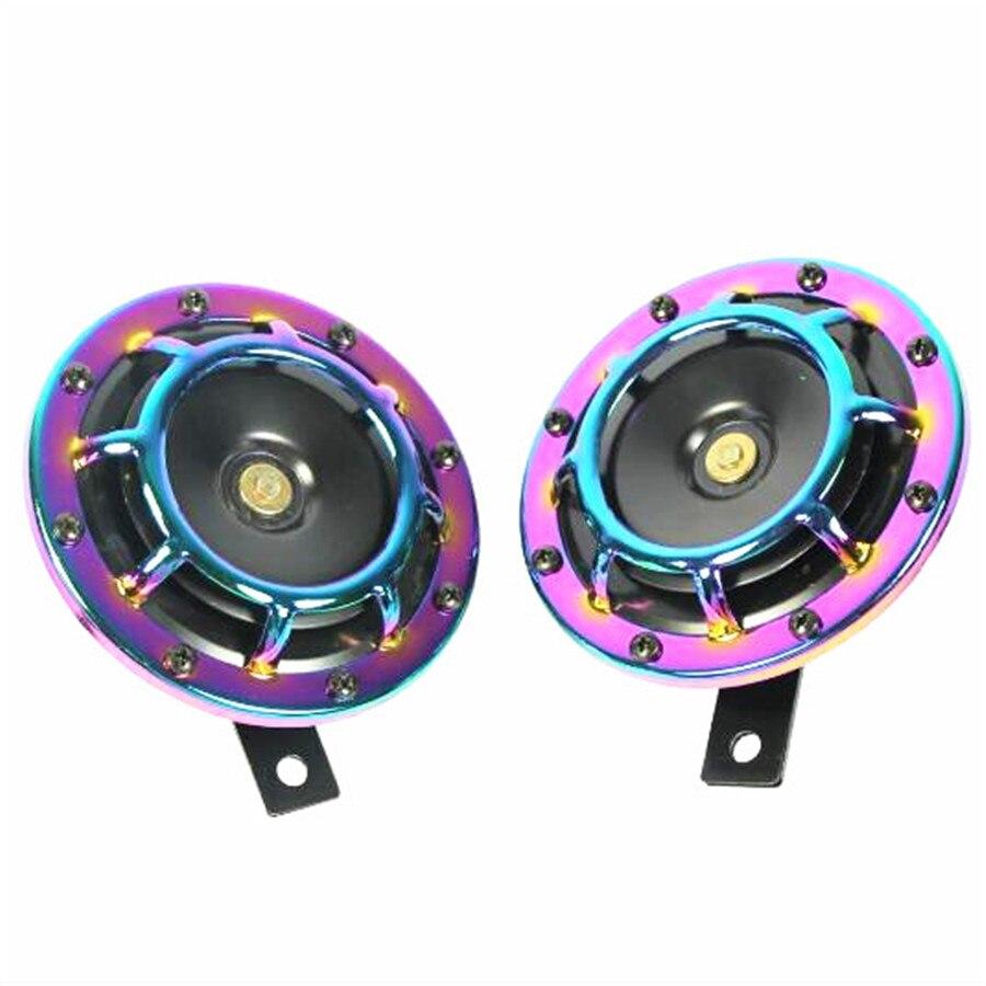 2 Pcs Colorful Super Loud Compact Electric Blast Tone Hella Horn For CAR TRUCK Motro Universal
