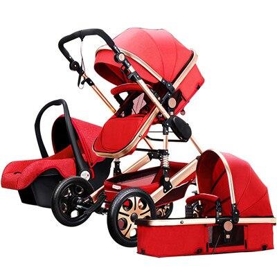Высокая Пейзаж детская тележка может сидеть и лежать в двух путь четырех колесиках противоударный складной новорожденных Bb зима лето du ...