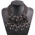 2017 nueva llegada de la manera diseño negro calavera de cristal de lujo de la cadena colgante de big chunky collar llamativo para la joyería partido de las mujeres