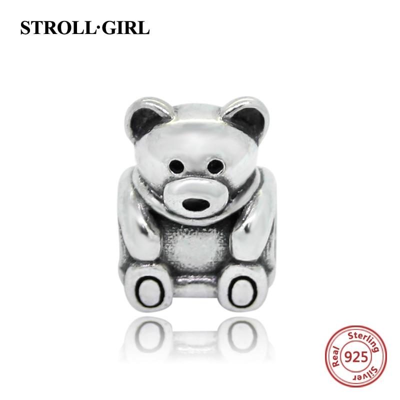 Genuine 100% 925 Sterling Silver Bear Bead Charm Fit pandora Charms Original Bracelet Authentic Pendant Luxury DIY Jewelry Gift