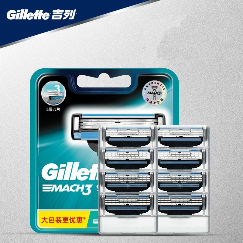 Original Genuine Gillette Mach 3 Shaving Razor Blades For Men Brand 3 Layer New Packaging Manual Shaver Razor Blade