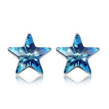 ФОТО fine jewelry made with swarovski crystal blue star earrings real s925 sterling silver blue star earrings for women gift  2018