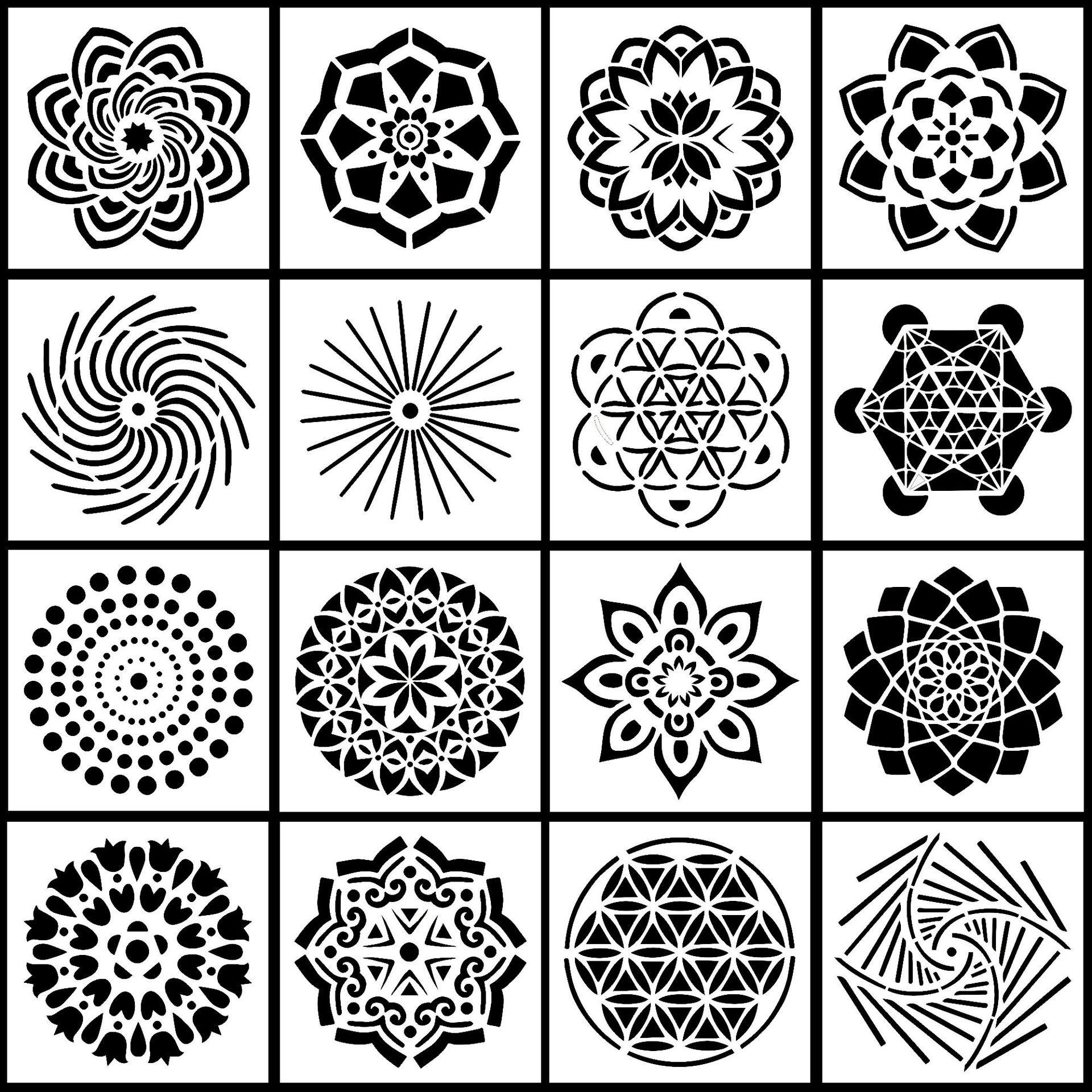 16Pcs/Set 13cm Mandala Geometry DIY Layering Stencils Painting Scrapbook Coloring Embossing Album Decorative Template