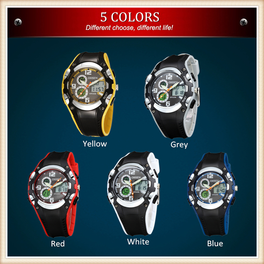 Original OHSEN Brand Quartz Sport Watch Wristwatch Children Boys Kids Gift Waterproof Led Sports Silicone Band Fashion Watches (29)