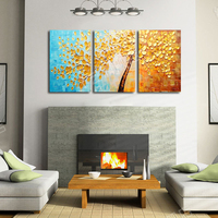 Thick Textured 100 Hand Painted Modern Abstract Oil Painting On Canvas Wall Art 3 Panels Golden