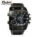 Fashion Military Mens Waches Leather Luxury Brand Oulm Multi-Time Zone Sport Men Quartz Watch