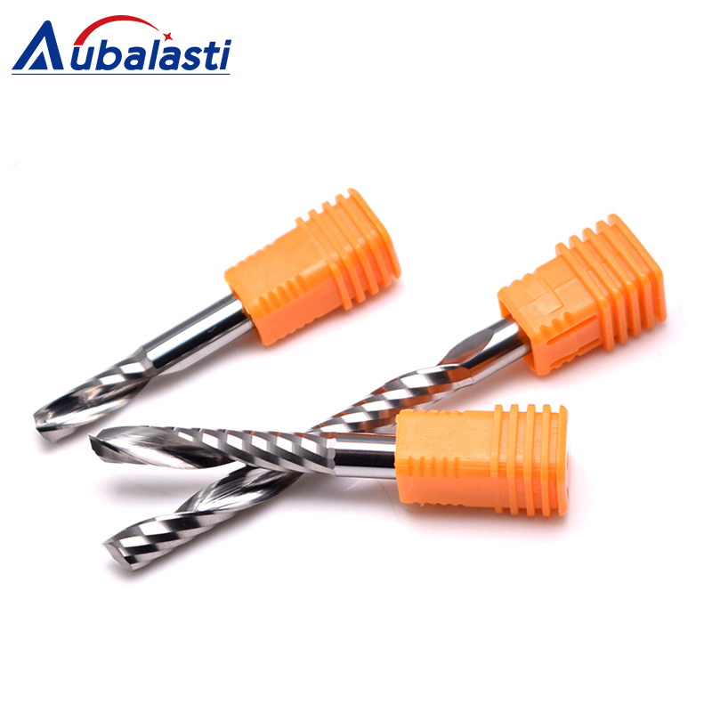 Aubalasti 6mm one Flute Spiral Cutter Router Bit CNC End Mill For MDF Carbide Milling Cutter Tugster Steel Router Bits for Wood in Milling Cutter from Tools
