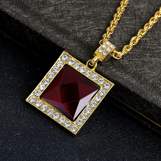 Mens iced out hip hop square pendant necklace red stone charm cuban mens iced out hip hop square pendant necklace red stone charm cuban link chain women necklaces aloadofball Choice Image