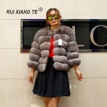 free shipping women real fur coat popular fox vest shorter warm winter outerwear luxury full pelt