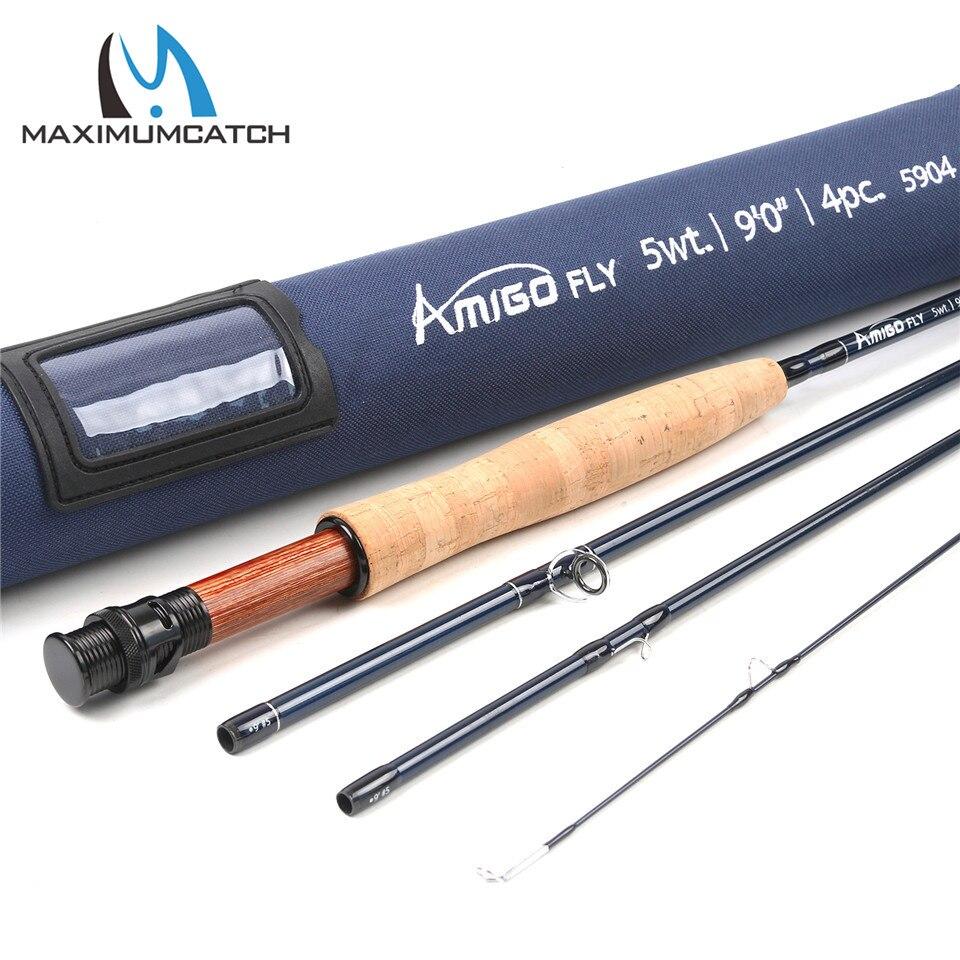Maximumcatch Amigo 9FT 5/6/8wt Fly rod Carbon Fiber Fast Action Fly Fishing Rod with Cordura Tube