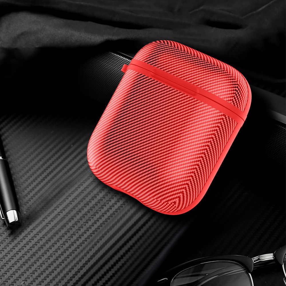 Z włókna węglowego etui do Apple Airpods 1 2 bezprzewodowa słuchawka Bluetooth pokrywa dla powietrze przypadkach okno ładowania Fundas z metalowy hak