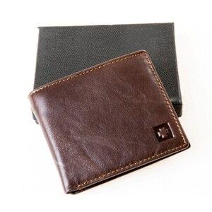 Image 3 - MRF1 تتفاعل حجب محفظة الرجال محفظة جلدية حقيقية الهوية سرقة حماية محفظة بشريحة RFID محفظة الرجال بطاقة الائتمان محفظة Vintage
