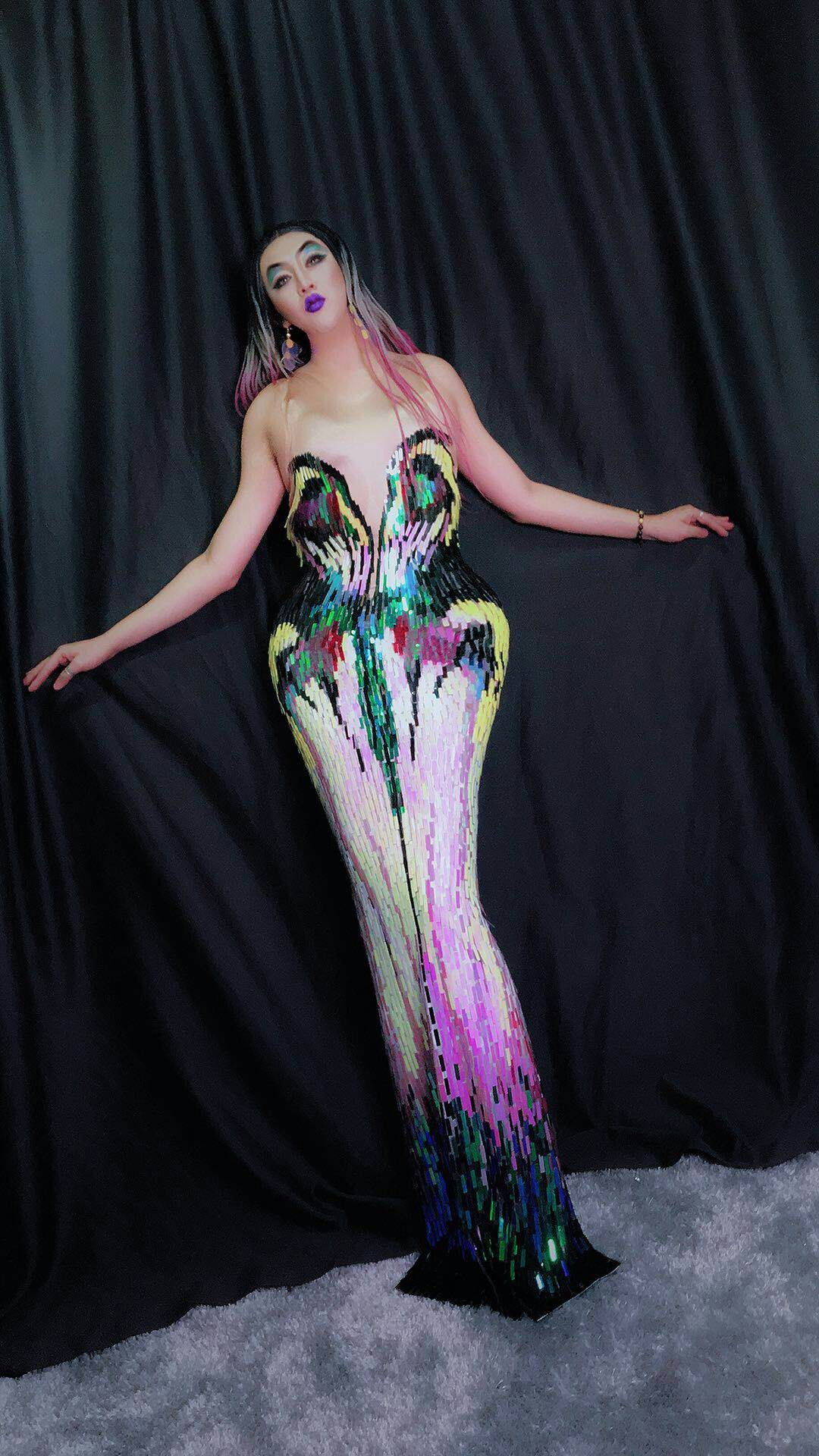 Dj Ds salon de l'auto Sexy robe longue tenue de soirée des femmes robe extensible luxueuse bal d'anniversaire célébrer les robes de chanteuse féminine
