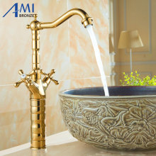 Golden Kitchen Faucets Swivel Brass Bathroom Faucet Sink Basin Mixer Tap 9056G