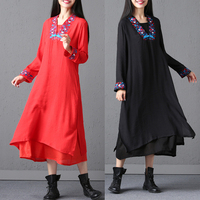 Chinese Style Robe Fall Clothes 2017 New Autumn Loose Vestidos Women V Neck Cotton And Linen