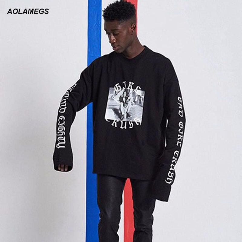 Aolamegs Men Women Hip Hop Long-sleeved T-shirt Bad Girl Crush Style Youth Rap Tee shirt Fashion Design Hip hop Dancing Tshirts