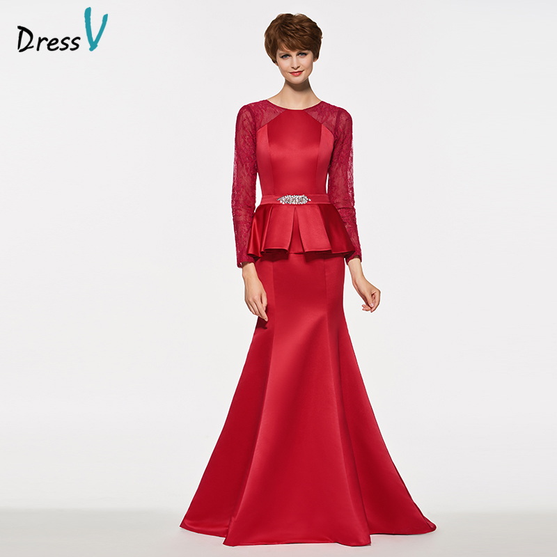 Dressv Bride Beading Evening-Gown Long-Sleeves Red Dark The Satin of Sweep-Train Customized