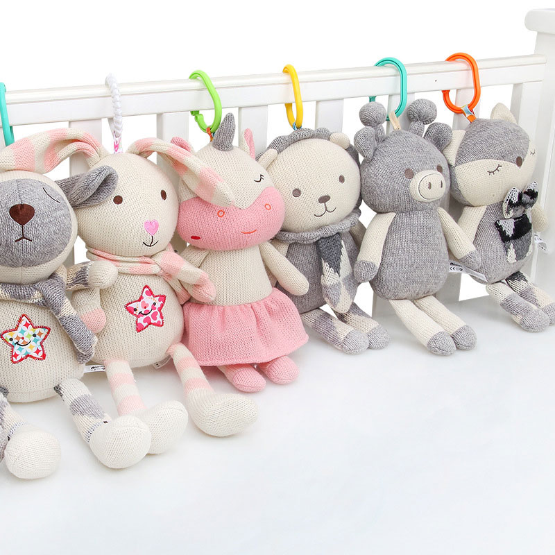 Hot 30cm Woolen Baby Rattles Toys BB Device Stuffed Animal Plush Doll Infant Crib Toy Fox Toys For Stroller Soothing Dolls LB09