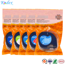 mixed color compatible Dymo plastic LT 91201,  91202, 91203, 91204, 91205 label tape for Dymo LetraTag  label printer 12mm*4m