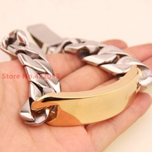 8.46″ 17mm Huge Heavy Silver Gold Cuban Curb Casting Link Chain 316L Stainless Steel Cool Men's Cuff Bracelet Jewelry 130g