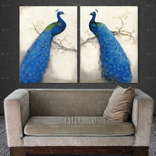 Animal Pictures for Wall Posters and Prints Peacock Canvas Painting  Frameless Printing Abstract art Living Room Decor