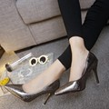 2016 autumn new Korean single shoes pointed high heels thin OL patent leather shoes with shallow mouth sexy silver shoes