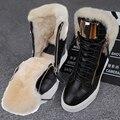 O Envio gratuito de Mulheres Da Forma do Couro Genuíno-Altura crescente Lace-up Botas botas de Inverno Quente com Pele Tamanho 35-40