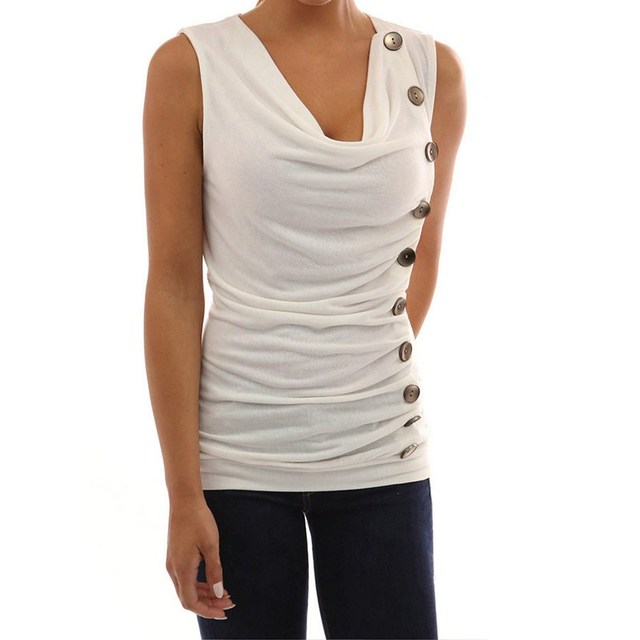 4846b8c0ae 2018 Plus Size ZANZEA Women Sexy Low Cup Sleeveless Buttons Party Tee Tops  Leisure Summer Solid S 4XL Slim Fit White Club Vest