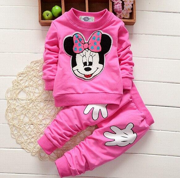 Детская одежда 2 шт. весна новорожденных девочек одежда Минни футболки + брюки новорожденных девочек устанавливает детская одежда костюмы новорожденного chidlren