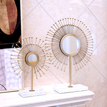 Europe creative Metal marble screen statue TV cabinet home decor crafts room decoration objects study metal Decorative mirror