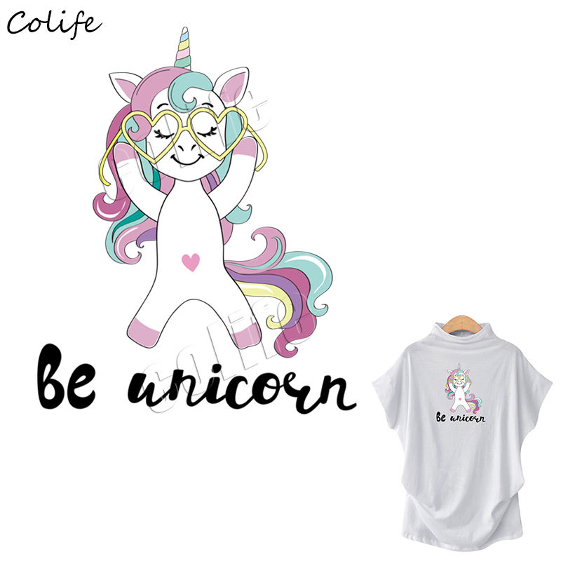Patches Clothes Patches Stickers Iron-on Heat Transfers Unicorn DIY Decoration Appliqued Parches for Baby Tops Dress