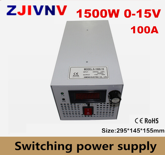 цена на 1500W 15VDC 100A Single Output Switching Power Supply AC-DC Switched Power Supply S-1500-15 output adjustable 12v 125a