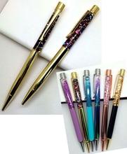 Высококачественный золотой порошок, масло кристалл, творческие элементы металла, кристалл подарки ручки, Песочные часы шариковая ручка, зыбучие пески ручка