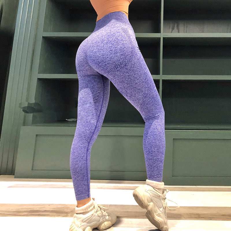 Women Blue Seamless Leggings Tummy Control Yoga Leggings High Waist Booty Leggings Sport Fitness Gym Leggings Athletic Tights 1