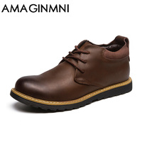 AMAGINMNI Men Winter Boots High Quality Genuine Leather Snow Boots Men Warm Working Shoes Men Ankle