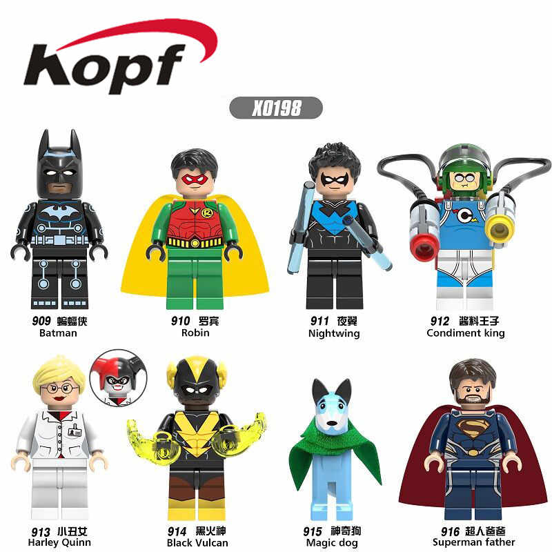 Super Heroes Building Blocks Magic Dog Bricks Batman Robin Nightwing Condiment Figures Gift Toys For Children X0198