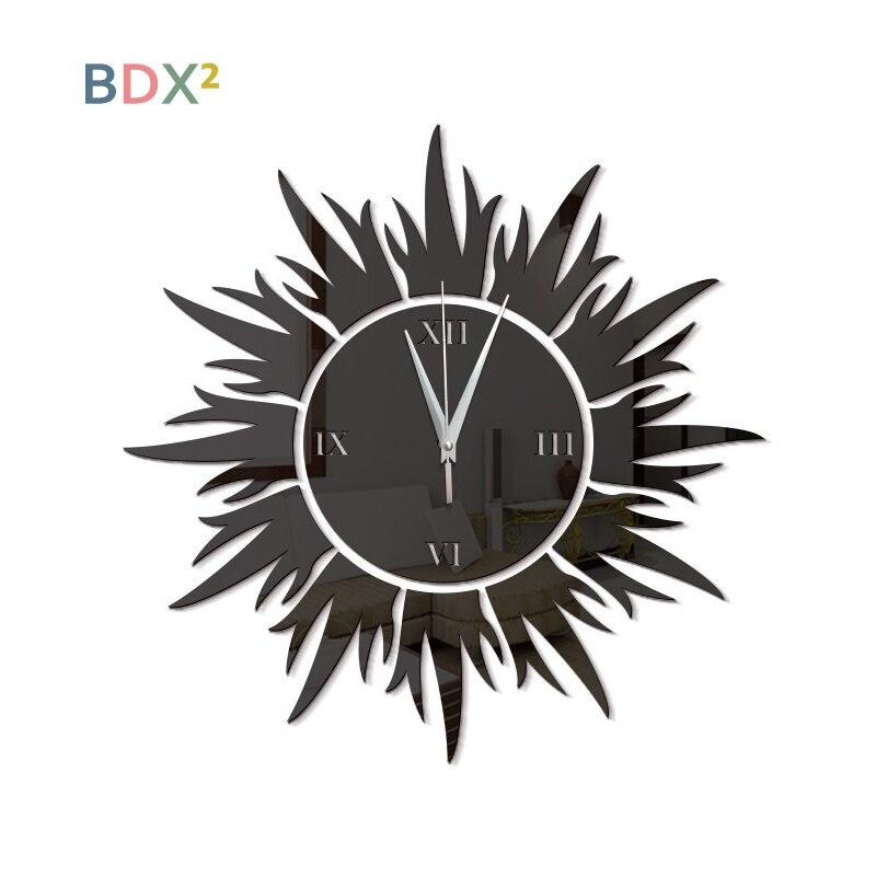 Sunflower Shape Acrylic Decorative Clock Artcraft Hanging Quartz Clock Home Decoration Sticker