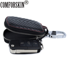 COMFORSKIN Fashion Geometric Style Key wallet Brand Design Multi-function Case For Car Guaranteed Cowhide Unisex Holder